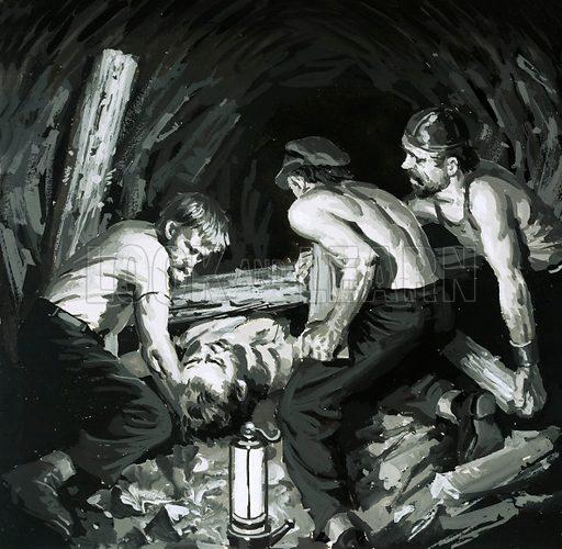 Unidentified mining disaster. Original artwork (dated 17/4/67).