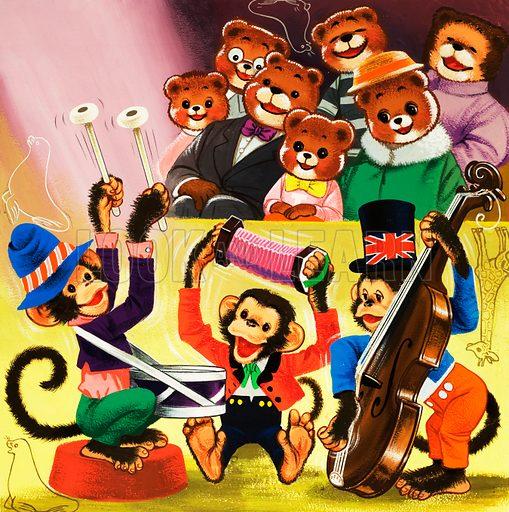 Monkeys playing music. Original artwork for Teddy Bear Annual 1978.