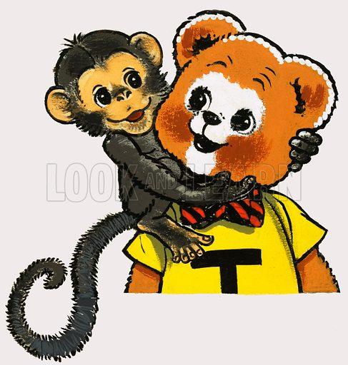 Teddy Bear with Monkey. Original artwork for Teddy Bear Annual 1978.