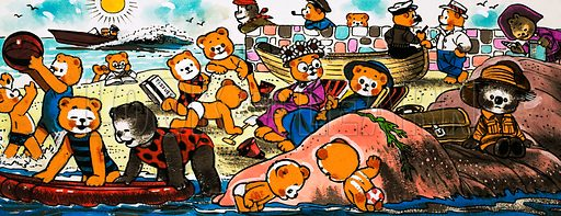 Teddy Bears playing on the beach.  Original artwork.