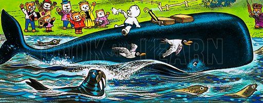 Teddy Bear on the back of a whale. Original artwork.