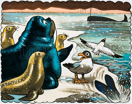 Walrus and gulls looking at whale.  Original artwork.