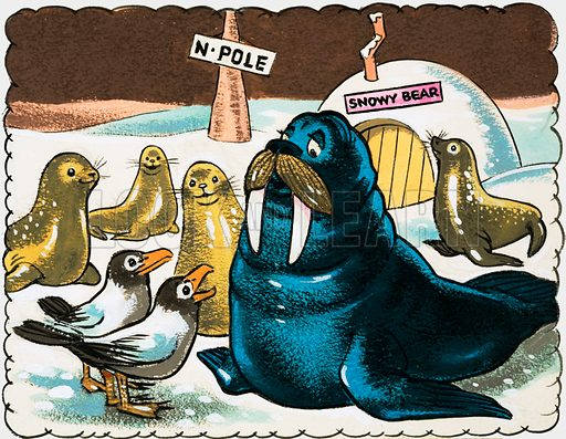 Walrus and gulls at the North Pole. Original artwork.