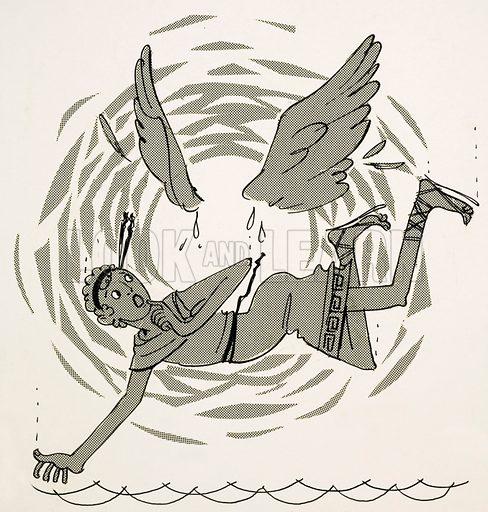 Icarus losing his wings. Cartoon. Original artwork.