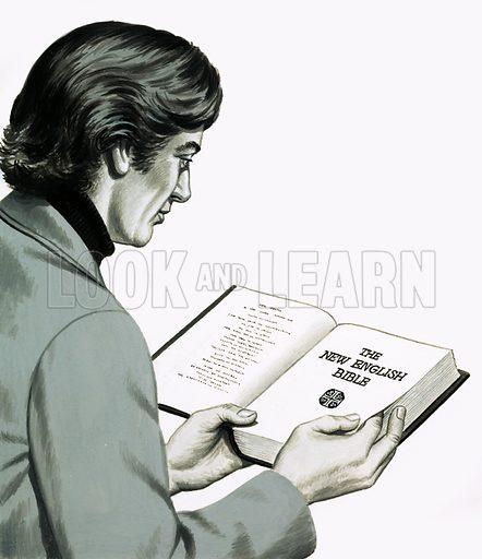 Man reading the New English Bible.