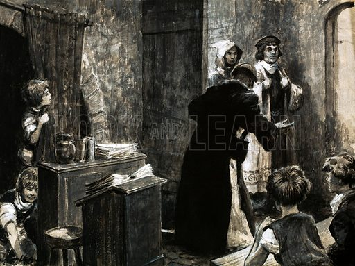 Where Learning Really Began. When, in Norman times, the education inspector came to St Martin's school near Canterbury, some of the pupils had to hide because the classes were too big. Original artwork from Look and Learn no. 143 (10 October 1964).