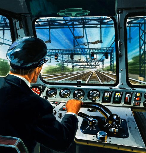 Driving an electric train. Original artwork (dated 23/4/66).