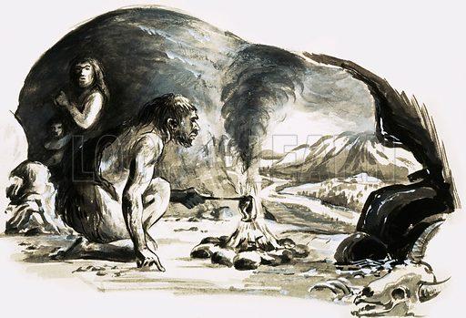 Cave man cooking. Original artwork.