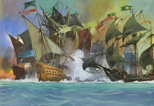 Unidentified sea battle. Original artwork for Look and Learn.