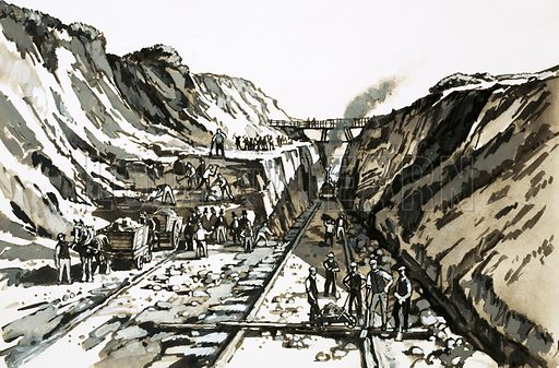 A Man of Genius: Saved by a Pencilled Sketch. The task of driving a long and deep cutting through Sonning Hill required the work of over 1,000 navvies and nearly 200 horses. Original artwork from Look and Learn no. 1014 (15 August 1981).