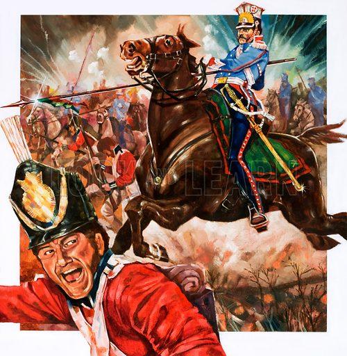 Unidentified cavalryman charging with lance. Original artwork.