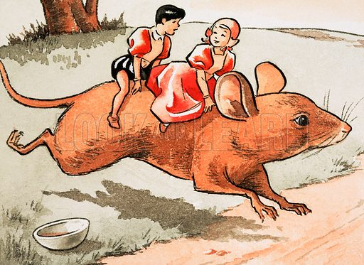 Children on the back of a mouse. Original artwork for Treasure Annual 1970.