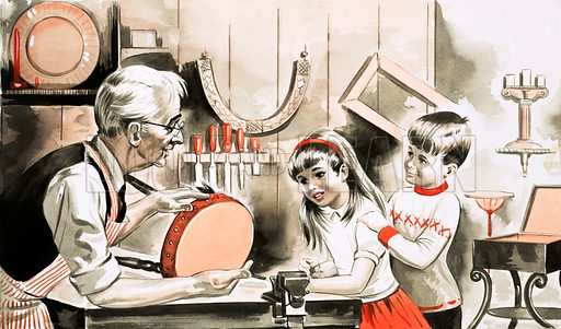 Children with furniture restorer. Original artwork for Treasure Annual 1970.