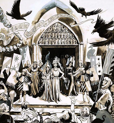 Unidentified fairy tale wedding illustration. Original artwork from Robin no. 30.