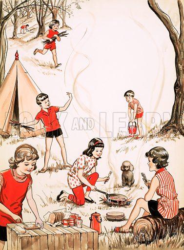 Children camping.