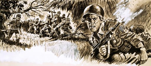 "The Rangers Are Ambushed. 350 American Rangers were trapped in South Vietnam when the order came through ""It's every man for himself."" Original artwork from Ranger (26 March 1966)."