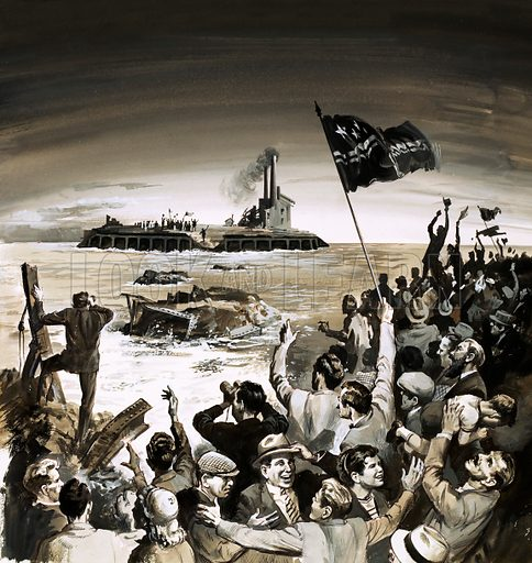 Crowds cheering and waving flags by the ocean to another group of flag wavers. Original artwork.
