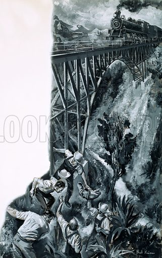 First Girl Around the World. An illustration based on Elizabeth Cochrane's autobiography: a train from Gallup, New Mexico, approached a bridge which was under repair and which was unlikely to withstand the weight of a fully-laden train. Workmen scrambled to get out of the way but by some miracle the bridge held. Original artwork from Look and Learn no. 395 (9 August 1969).