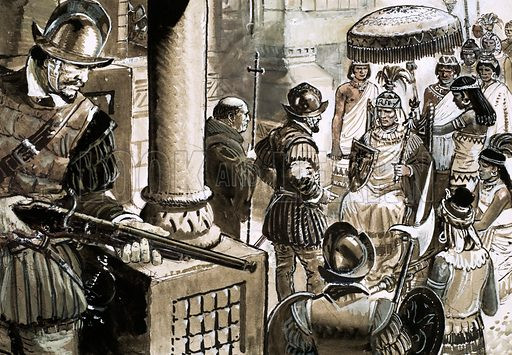 Francisco Pizarro's Spanish Conquistadors meeting the Inca Emperor Atahualpa, 1533. Pizarro's soldiers were waiting in hiding when he arranged his first meeting with King Atahualpa, a meeting that turned into a massacre. Original artwork from Look and Learn no. 533 (1 April 1972).