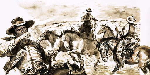 The Texas Ranger: Scourge of the Bandits. The Rangers were quite prepared to flout international law by crossing the Rio Grande into Mexico to bring outlaws to justice. Original artwork from Look and Learn no. 804 (11 June 1977).