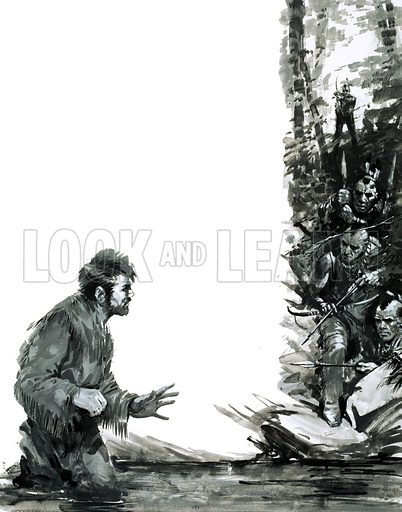 Survival: The Dream That Came True. Alexander Mackenzie is threatened by Indians as he wades through a river. Original artwork from Look and Learn no. 582 (10 March 1973).