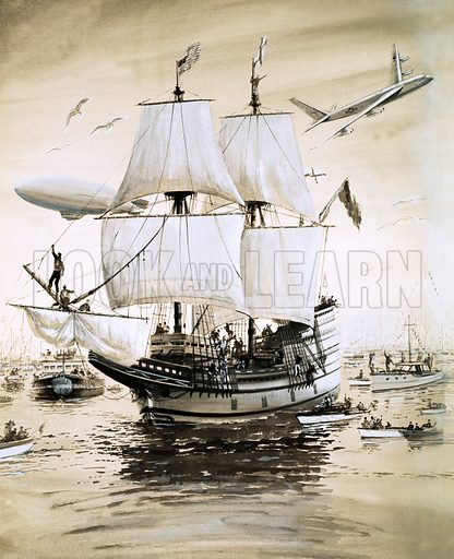 The Mayflower Sails Again. In 1957, Alan Villiers recreates the Mayflower of the Pilgrim Fathers and sails across the Atlantic. Original artwork from Look and Learn no. 193 (25 September 1965).