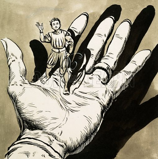 Hand holding Tom Thumb