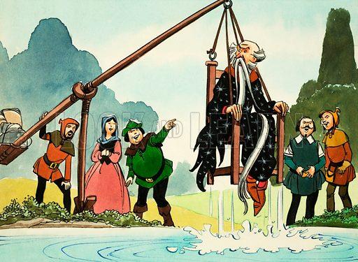 Princess Marigold. Wizard Weezle receives a ducking. Original artwork from comic strip from Treasure (13 June 1970).