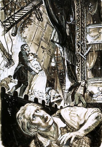 Unidentified theatre scene as a lighting rig falls towards actors on stage. Original artwork.