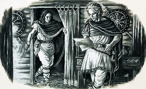 History's Heroes: He Broke the Might of Rome. Armenius, a German Prince captured by the Romans who later liberated Germany from their grip. Armenius was assassinated in AD 21. Unused illustration intended for Look and Learn no. 587 (14 April 1973).