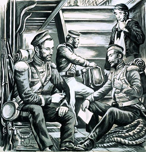 Soldiers talking below decks.