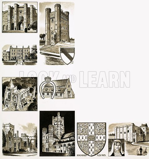 Britain's Heritage: The Eastern Counties. (Left top to bottom): Thornton Abbey, Gunby Hall, Crowland Abbey, Elton Hall; (Centre top to bottom): Tattershall Castle, Oakham Castle, Ely Cathedral; (bottom left to right) crest of Cambridge University, Castle Rising. Original artwork from Look and Learn no. 336 (22 June 1968).