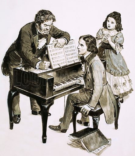 The Nightingales of Leipzig. Music teacher Friedrich Wieck shouts at Robert Schumann while his daughter, Clara Wieck, looks on. Original artwork from Look and Learn no. 388 (21 June 1969).