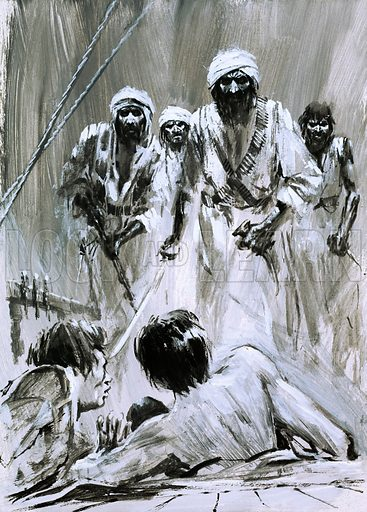 Appointment With Danger: Kidnapped by Pirates. In 1931, an American named William Robinson was kidnapped by pirates in the Arabian town of Makalla. Original artwork from Look and Learn no. 407 (1 November 1969).