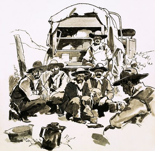 The American Cowboy: The Man behind the Legend. Cowboys gathered around a chuck wagon. Original artwork from Look and Learn no. 478 (13 March 1971).