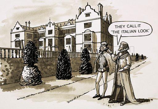 17th century English architecture. Cartoon.