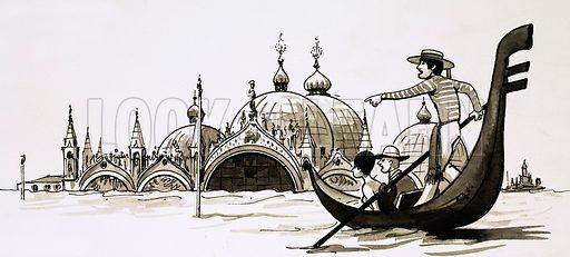 Venice flooded.  Cartoon.