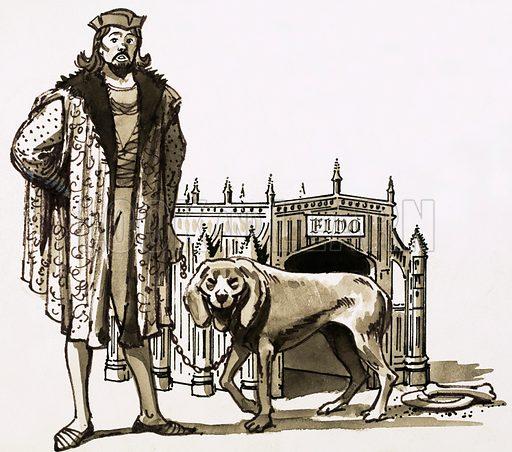 Gothic dog kennel. Cartoon.