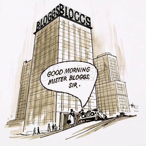 American sky scraper.  Cartoon.