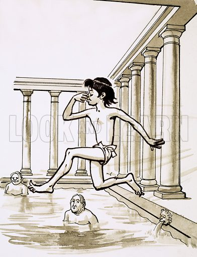 Roman baths.  Cartoon.