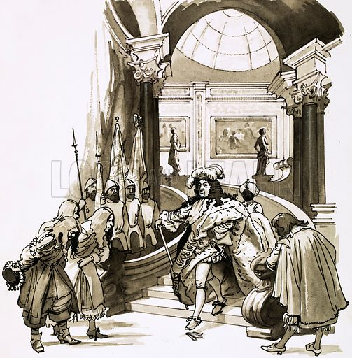 Louis XIV descending the stairs at Versailles. Cartoon.