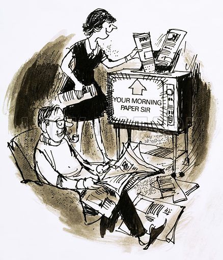 Newspapers via television. Look and Learn cartoon from 1970s.