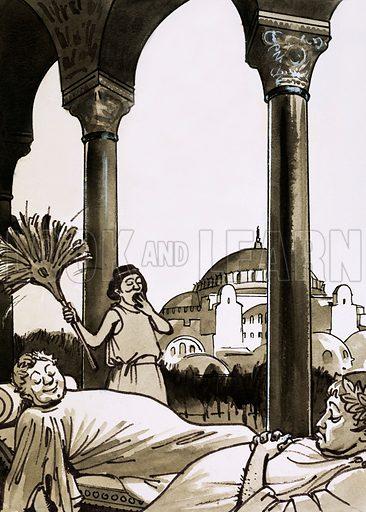 Romans resting in Constantinople. Cartoon.