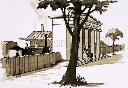 Classical railway station. Cartoon.