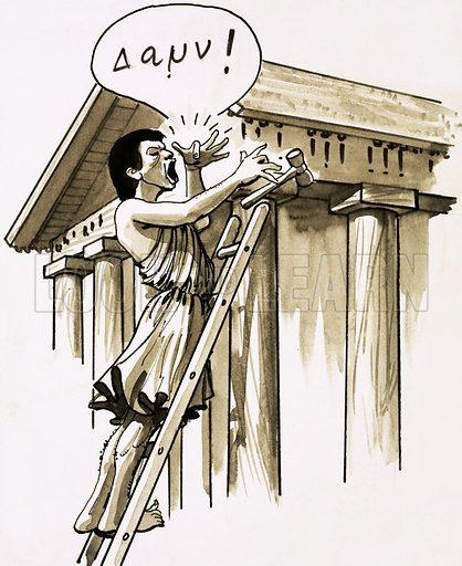 Greek builder.  Cartoon.
