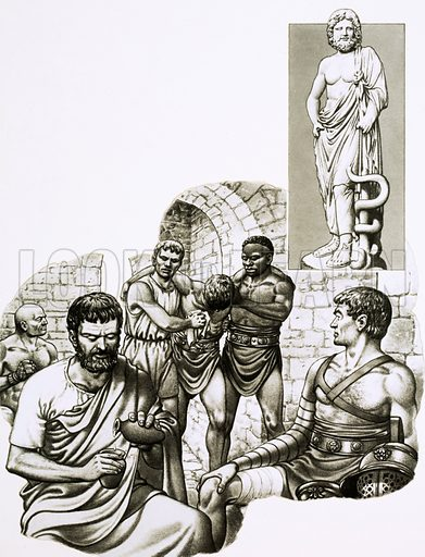 Stay Away From the Doctor. A medic at the gladiatorial games patches up survivors of the duels between men and animals with (inset) the statue of Aesculapius, the Greek god of medicine. Original artwork from Look and Learn Book 1984.