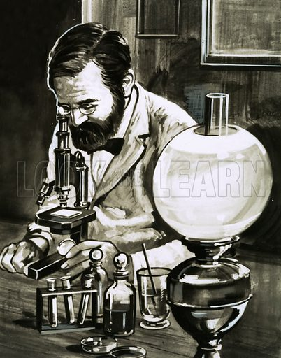Louis Pasteur. Original artwork from Look and Learn Book of 1001 Questions and Answers 1984.