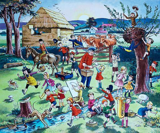 Farm scene (with hidden fruits).