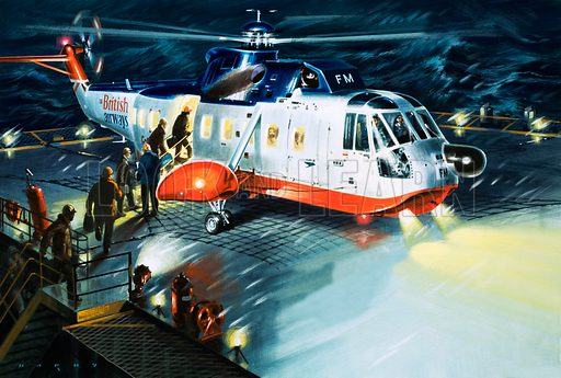 The Flying Life-Boats. When storms rise without warning or an accident on an oil-rig endangers lives, rescue helicopters take off from their bases at Aberdeen and Sumburgh to bring the workers to safety. Original artwork from Look and Learn no. 834 (7 January 1978).