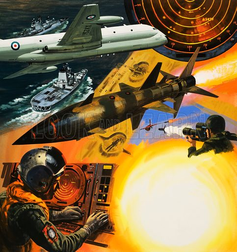 The Electronic Battle. The Cold War is fought with electronic surveilance which detect ships, aircraft and missiles. Original cover artwork from Look and Learn no. 626 (12 January 1974).